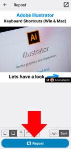 Click on Repost button