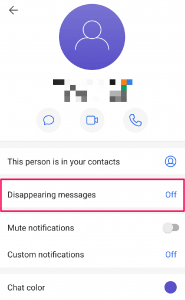 Signal disappearing message feature